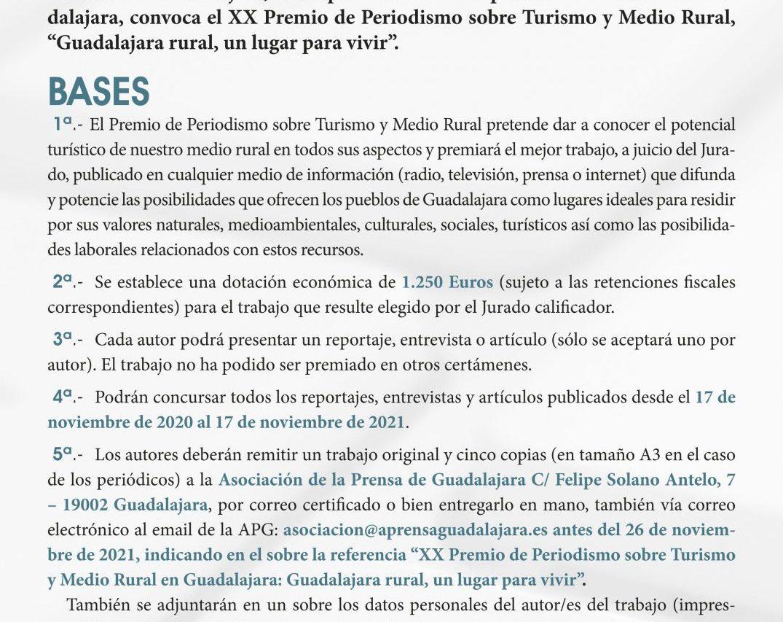 La Asociación de la Prensa convoca el XX Premio de Periodismo sobre Turismo y Medio Rural